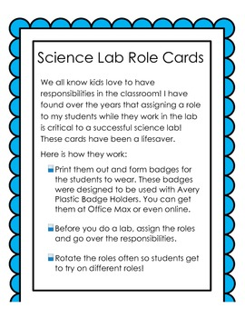 Science Lab Role Cards