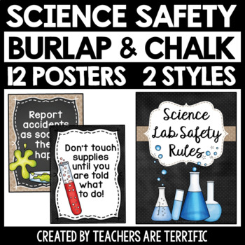 Science Lab Safety Rules Posters in Burlap and Chalkboard