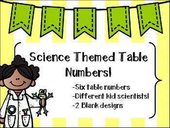 Science Lab Table Number Labels