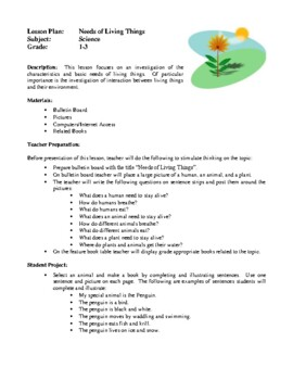 Science Lesson Plans - Needs of Living Things, Discovering