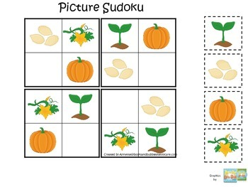 Science Life Cycle of a Pumpkin Picture Sudoku preschool h