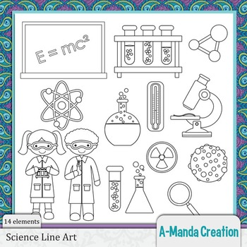 Science Line Art and Digital Stamps