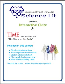 Science Literacy Interactive CLOZE:  Artificial Sweetener.