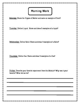 Science Morning Work-Matter Week 1