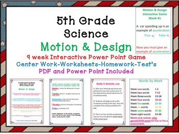 Science -Motion & Design-Interactive Power Point Game-Work