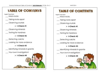Science Notebook TOC - Earth Materials, 2nd Ed.  Gr. 3