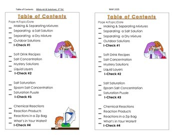 Science Notebook TOC - Mixtures & Solutions, 3rd Ed.  Gr. 5-6