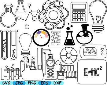 Science Outline School clip art crazy math atom scientist