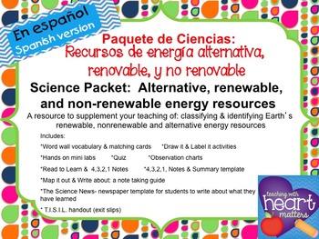 Science Packet: Alternative energy resources IN SPANISH (Energía)
