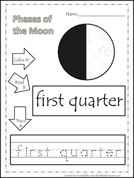 Science Phases of the Moon Color,Read,Trace preschool home