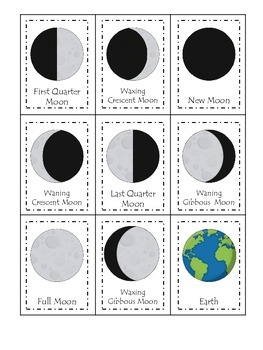 Science Phases of the Moon Three Part Matching preschool h
