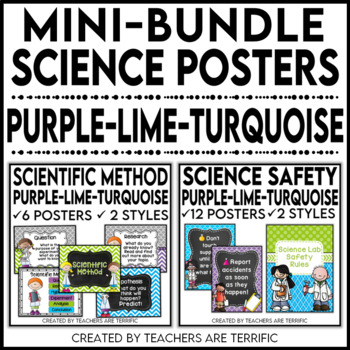 Science Poster Mini Bundle in Purple, Lime, and Bright Turquoise