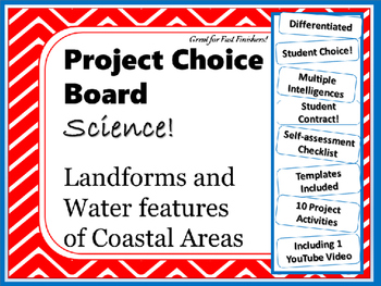 Science Project Choice Board: Landforms of Coastal Areas-