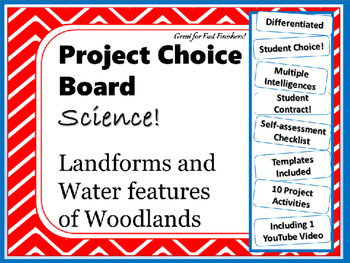 Science Project Choice Board: Landforms of Woodlands/Mount