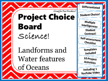Science Project Choice Board: Landforms of the Oceans- 10