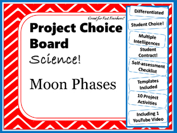 Science Project Choice Board: Phases of the Moon- 10 Projects