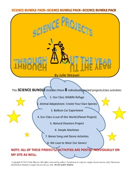 Science Projects/Activities Throughout the Year