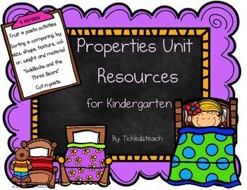 Science Properties Unit Resources for Kindergarten