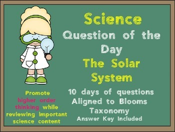 Science Question of the Day- Our Solar System for 3rd Grade