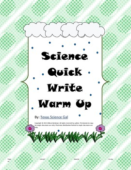 Science Quick Writes Set 1 for Grades 5-9