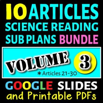 Science Sub Plans - Volume 3: Articles# 21-30 (Secondary S