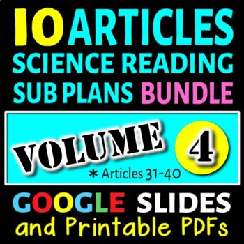 Science Sub Plans - Volume 4: Articles# 31-40 (Secondary S