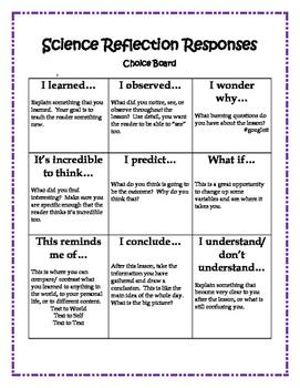 Science Response Stems Choice Board
