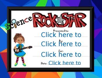 Science Rock Star Award girl