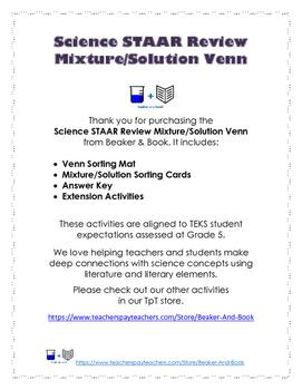 Science STAAR Review: Mixture/Solution Venn