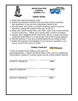 Science Safety Contract (K-1, 2-5, English and Spanish)