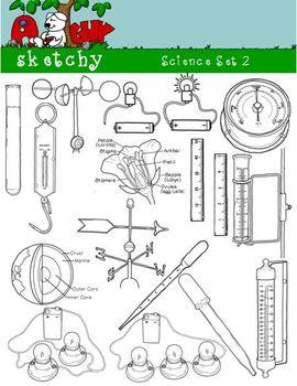 Science / Scientific 2 Clipart Graphics 300dpi Black Lined