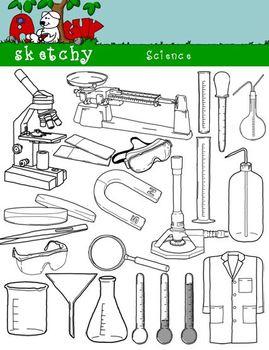 Science / Scientific Clipart Bundle Set-300dpi Black Lined