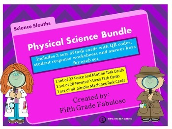 Science Sleuths Physical Science Task Card Bundle **WITH Q