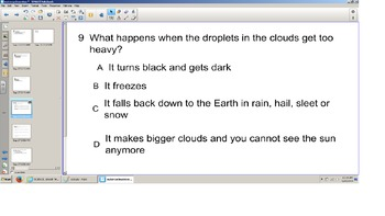 Science, Smart board Senteo quiz, Water Cycle, Grade 3, SOL prep