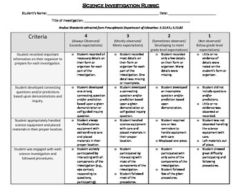 Science Standards Rubric and Student Check-bric