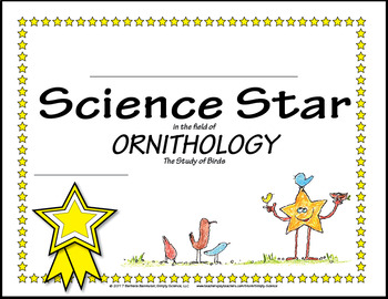 Science Star Certificates - Birds