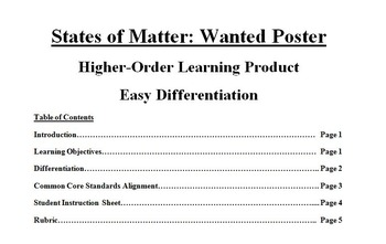 Science: States of Matter Wanted Poster--Differentiation,