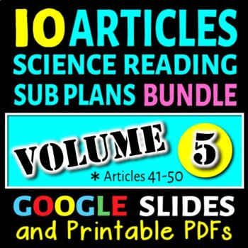 Science Sub Plans - Volume 5: Articles# 41-50 (Secondary S