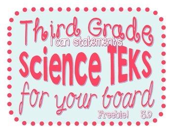 Science TEKS - 3rd Grade 3.9