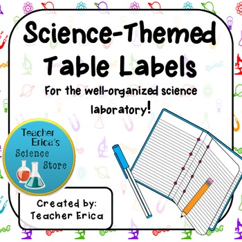 Science-Themed Table and Seating Labels