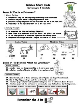 Science Study Guide: Environments & Recycling