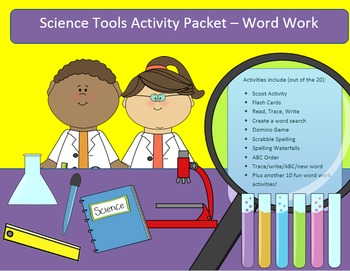 Science Tools - 15 words - word work packet with 22 activi