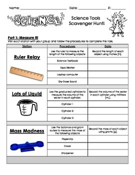 Science Tools - Hands-On Scavenger Hunt Centers / Stations