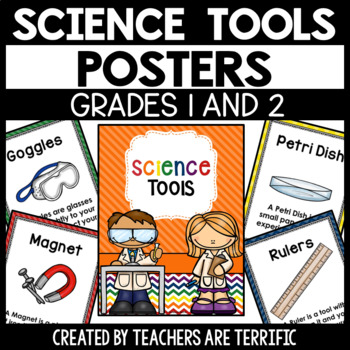 Science Tools Posters for 1st and 2nd Grade in Primary Colors