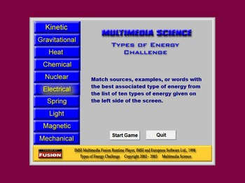 Science - Types of Energy Challenge - PC Version