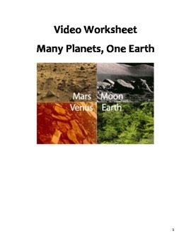 Science Video Worksheet - Many Planets, One Earth Companion
