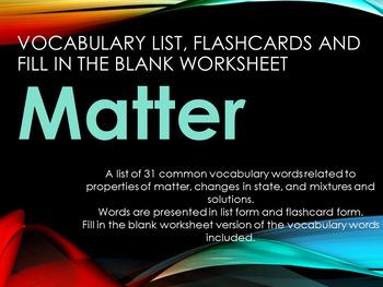 Matter! Science Vocabulary Activities Crosswords and Word
