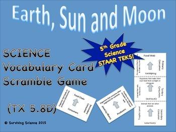 Science Vocabulary Scramble: Earth, Sun and Moon (TX TEKS 5.8D)