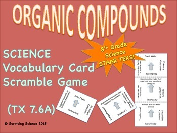 Science Vocabulary Scramble Game: ORGANIC COMPOUNDS (TX TE