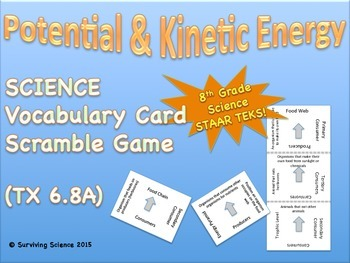 Science Vocabulary Scramble Game: Potential and Kinetic En
